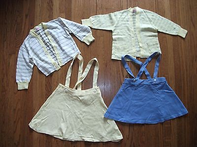 4 pc Vintage Toddler Skirts Heallthtex Alweco Cardigan T Shirt 1940s Early 1950s