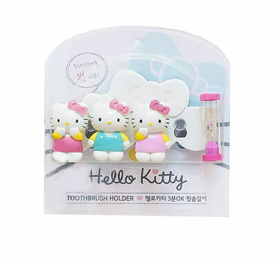 [Hello Kitty] Wall Suction Toothbrush Holder Kids 3 Minutes Sandglass N_o