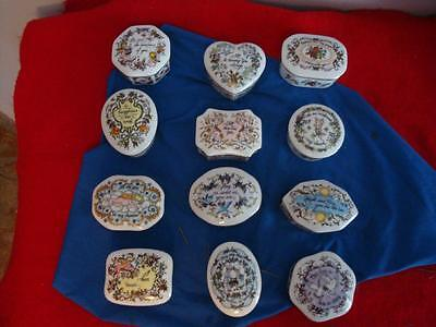 1984 Franklin Mint Songs of Love Music Boxes - Set of 12