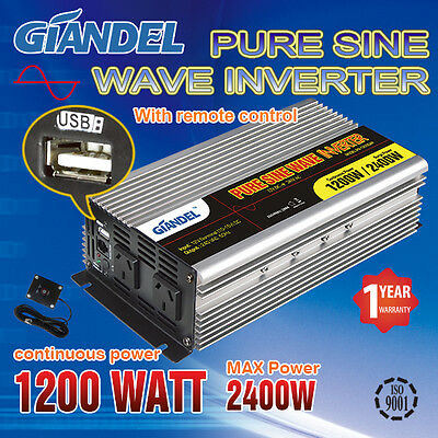 Pure Sine Wave Power Inverter1200W/2400W Max12V-240V+Remote Controller4.5M Cable