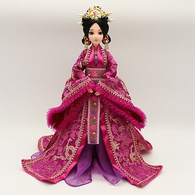 NEW RARE Handmade OOAK Chinese Collectible Toy Dolls Purple Dress Free US ship