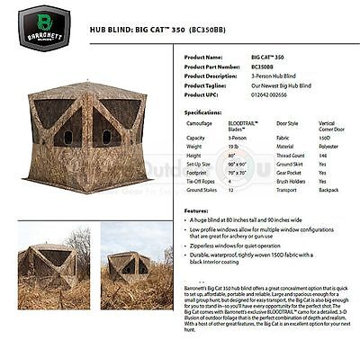 BC350BB NEW 3 Man Barronett Blinds BIG CAT 3D BLADES CAMO Blind 80x90x90