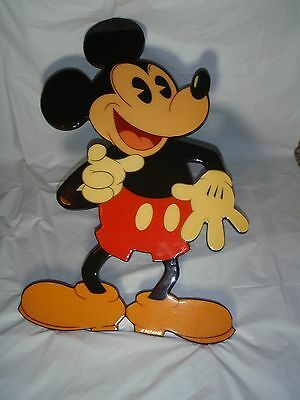 "Rare Vintage 24"" Mickey Mouse Cutout Wall Lacquered Wooden Walt Disney Company"
