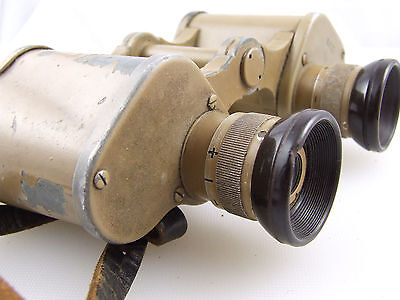 German WW2 desert tan  pattern 6 x 30 military binoculars.Original Leather Strap