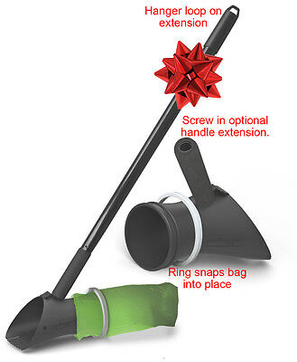 PooBagger One-Step Pooper Scooper scoops directly into attached bag. Any bag.