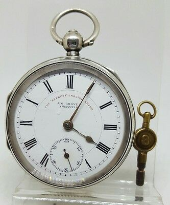 Antique solid silver gents J.G. Graves Sheffield pocket watch 1900 working