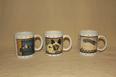 Lot Of 3 1986 Lowell Herrero Cat Mugs 5802