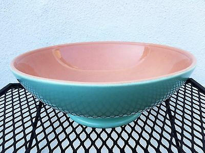 "Gladding Mcbean Franciscan Ware 11"" Low Footed Bowl Pink Turquoise Blue Catalina"