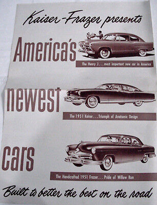 "1951 Kaiser-Frazer Sales Brochure ""America's Newest Cars"""