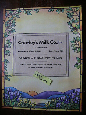Crowley's Dairy  Binghamton Ny Copy Of Old Ad Reading For Framing!!