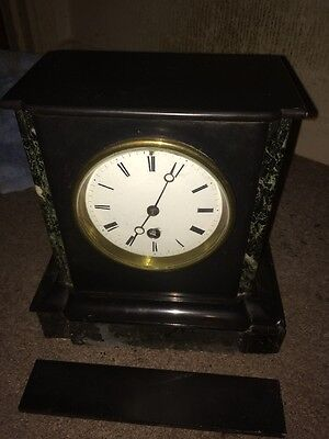 Antique Victorian Slate Mantle Clock - Collectable 1855 Parts Or Repair Rare