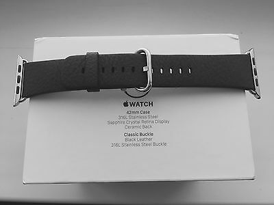 Genuine New 42mm Black Leather Strap with Classic Buckle for Apple Watch, Band