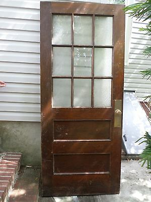 Vintage Antique Solid Wood Schoolhouse Doors- 9 Panes Of Glass/2 Panels