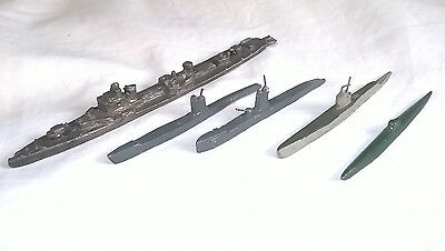 Collection of 5 Waterline model ship and submarines