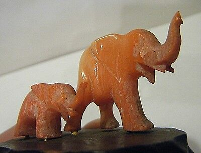"RARE VTG 1940s CARVED RED CORAL ELEPHANTS 2.5""FIGURINE MAMA AND A BABY TRUNKS UP"
