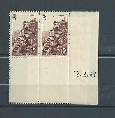 France  Luxe N° 763  Paire   Date  12/2/47.  Rocamadour  Neufs **