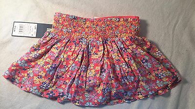 Toddler Girls Genuine Kids OSHKOSH Coral Floral Rayon Skirt w/ Bloomer 12M