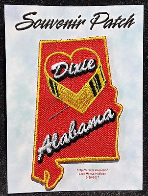 LMH PATCH Badge  ALABAMA Slogan  HEART OF DIXIE State Outline Red Yellow 3""