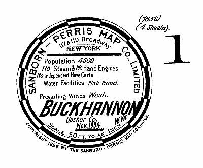 Buckhannon, West Virginia~Sanborn Map© sheets made in 1894 with 4  maps on CD