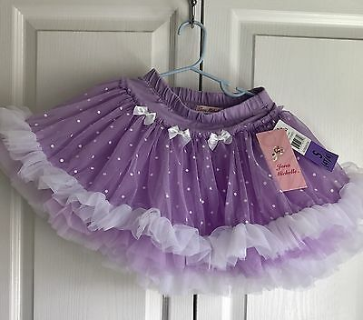 Jona Michelle Girls Purple Polka Dot Tutu Size S 4T Dance Dress Up Skirt NWT