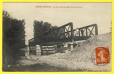 cpa 89 Village de CHÂTEL CENSOIR (Yonne) Construction du PONT de SAINT MARC rare