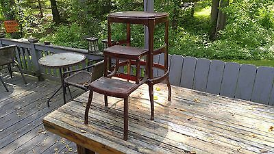 Vintage COSCO Step Stool High Chair Brown Pull Out Steps Shabby Chic Brown