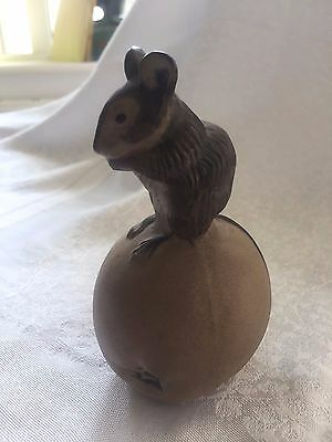 Vintage Poole Pottery Stoneware Mouse On Apple Signed Jm   Vgc
