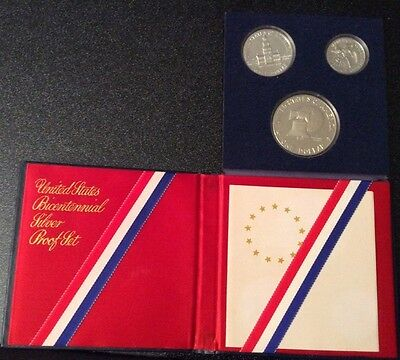 United States Bicentennial Silver Proof Set 1776-1976 3 Coins(1, 1/2, 1/4 Dollar