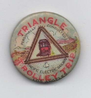 1910 Celluloid Advertising Pinback Button for the Triangle Trolley Trip CA
