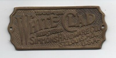 Old Brass White Clad Simmons Hardware Company Tag St Louis