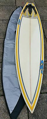 6.3 Surfboard with NEW board bag.7ft Leash.White NEW FCS fins in good condition