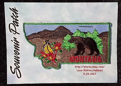 LMH PATCH Badge  MONTANA State Flower BITTERROOT  Black Brown GRIZZLY BEAR 3""