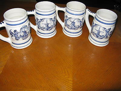 4 Norelco Delfts Blauw Handpainted Made in Holland Mugs 1983, 1984, 1985 (2)