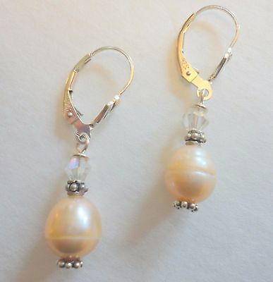 Beautiful Earrings Freshwater Pearls & Czech Crystals On Sterling Lever Backs