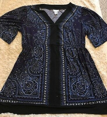 Motherhood Maternity Black Blue Purple White Paisley Short Sleeve Blouse LARGE