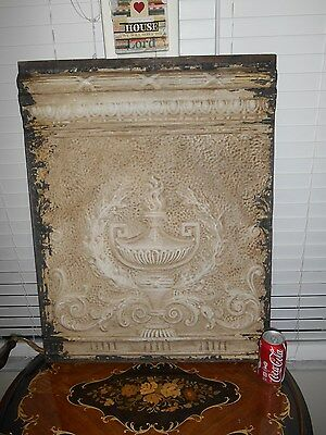 32'' by 24'' Antique Victorian Lamp Urn Ceiling Tin Metal Wall Tile panel Framed