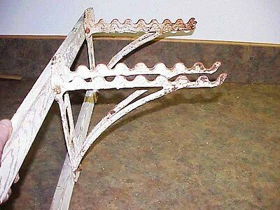 Pair VTG Cast Iron Display Shelf Bracket Hardware Store Rake Shovel Tool Holder.