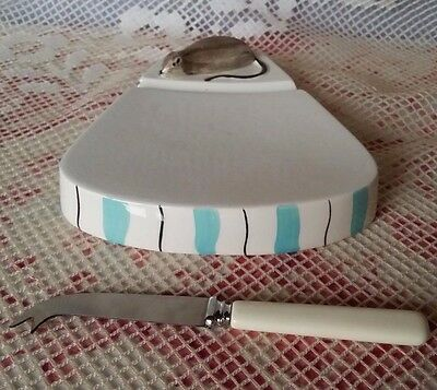 VTG CERAMIC SERVING CHEESE TRAY DISH with MOUSE & SHEFFIELD KNIFE NOVELTY SET