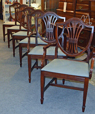 Set of 6 MAHOGANY TRADITIONAL Style SHIELD BACK CHAIRS Circa 1940's-50's