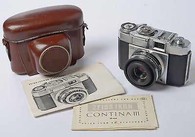 Zeiss Ikon Contina III 35mm Interchangeable lens film camera+case & Instructions