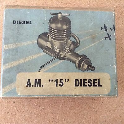 AM 15 Diesel   Control Line EngineUn-run Original  Box & Document