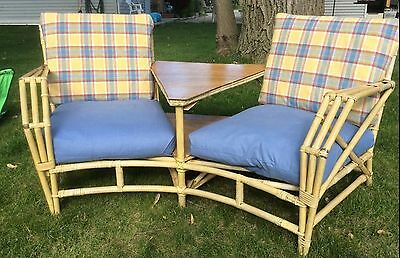 Mid Century Vintage Blonde Rattan Sofa (Pickup Only)