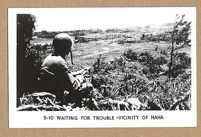 WWII RPPC~Waiting For Trouble~Vicinity of Naha~Soldier~Rifle~Grogan Real Photo~u