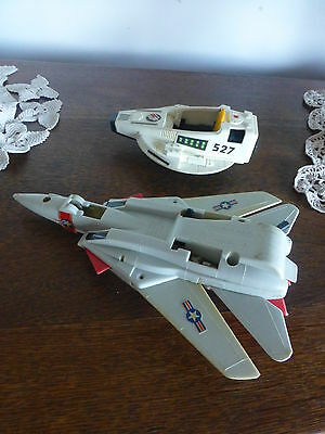 2 toys  fighter jet wings & space ship rocket 1980s  plastic collectable vintage
