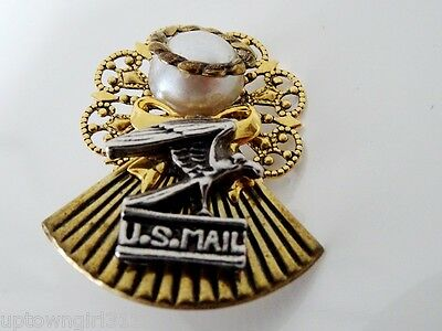 USA MAIL guardian angel pin FAUX PEARL vintage UNITED STATES POSTAL SERVICE