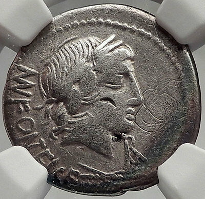 Roman Republic 85BC Rome Ancient Silver Coin VEJOVIS & GENIUS on GOAT NGC i61955