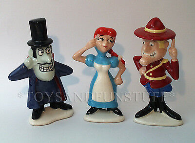 DUDLEY DO-RIGHT Nell SNIDELY Jay Ward ROCKY BULLWINKLE Ceramic CARTOON Figurines