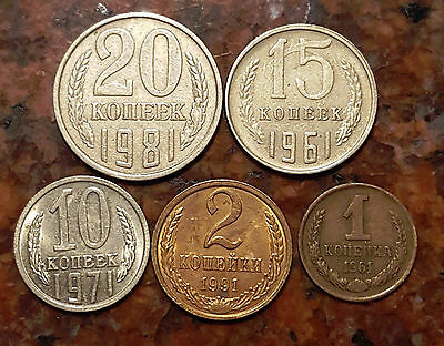 Lot Of (5) Russia Coins - Cold War Era - #639