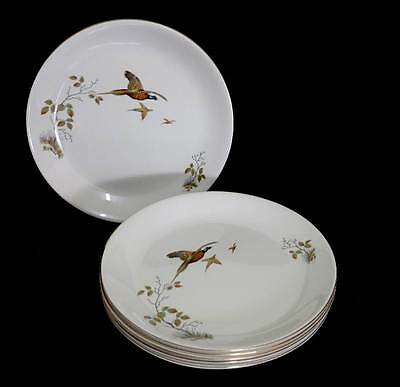 Vintage Alfred Meakin Celadon Pheasant set of 6 large dinner plates in great con