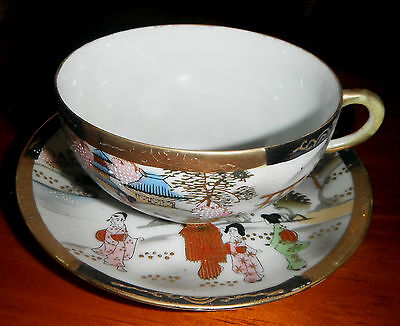 JAPANESE GEISHA GIRLS in Village Scene PORCELAIN TEA CUP & SAUCER ~ HAND PAINTED